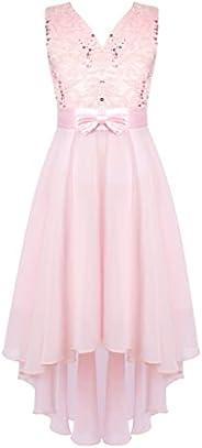 Nimiya Kids Flower Girls V Back High Low Chiffon Wedding Dress Floral Lace Proms Party Dresses
