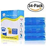 Diaper Pail Refills Bags (1020 Count, 34 Pack) Fully Compatible with Arm&Hammer Disposal System Snap, Seal and Toss Refill Bags(Blue)(Diaper Pail Refills 34 Bags)