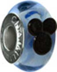Authentic Chamilia Disney Silver Mickey Murano Glass Blue Bead * Sterling DISO-1 Chamilia Jewelry Disney Beads