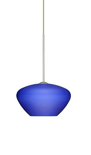 Besa Lighting 1XT-541087-LED-SN 1X6W Led Lightsource Peri Pendant with Blue Matte Glass, Satin Nickel - Blue Peri Decorative Glass