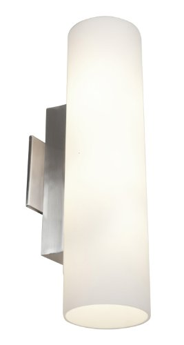 Access Lighting 50185-BS/OPL Tabo Two Light Vanity, Brushed Steel Finish with Opal Glass Shade 30%OFF