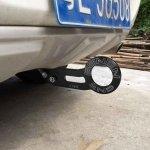 BHPSU Benen Abschlepphaken, Aluminium-Legierung, Anhängerring für Universal-Auto mit Zwei Schraubenlöchern (schwarz)