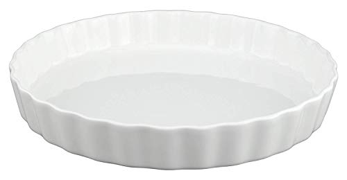 GOURMEX White, Round, Fluted Quiche Baking Dish | Ceramic Nonstick Pan | Perfect for Baking Tart Pies, Creme Brulee, Custard Dishes and Cheesecake | Porcelain 10 Inch Pan (10