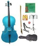GRACE 4/4 Size Blue Cello with Bag and Bow+Rosin+Extra Set of Strings+Tuner+Cello Stand+Music Stand by Grace