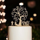 Mr and Mrs Cake Topper Wood Wedding Cake Topper Funny Bride and Groom with Blossom Tree Rustic Cake Topper (Vintage Wedding Cake Topper)