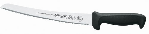Mundial 5621-10 10-Inch Curved Micro-Serrated Edge Bread Knife, Black 1 Bread Knife Micro serrated edge Handle contains built in anti microbial protection