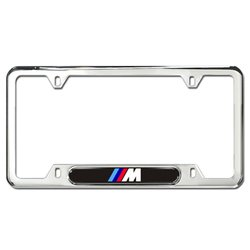 genuine bmw m logo license plate frame polished stainless steel