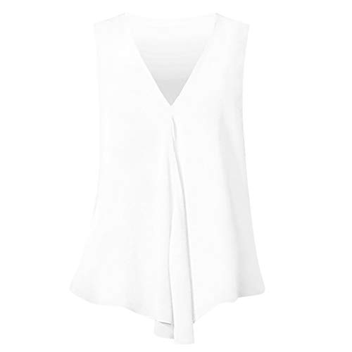 SUNyongsh Women Loose Sleeveless Blouse Casual Solid Vest Summer Tank Tops 'A' Skirt Hi-Low Hem ()