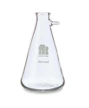 Kimble Chase KIMAX 953760-2000 Borosilicate Glass Volumetric Flask, 2000 ml Capacity Flask Side Arm