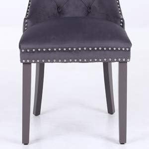 borchie cromate facile montaggio pulsante profondo con battente e borchie cromate PS Set di 2 sedie da pranzo in velluto fatto a mano grigio scuro velluto felpato,