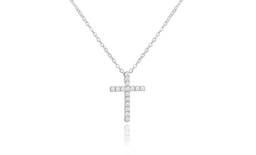 Triple Cross Pendant (Brilliant Jewelry Round Cut Cz Cross Pendant 18in Cable Chain by NYC Sterling)