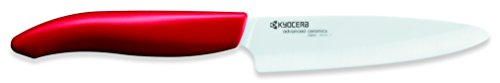 Handle Ceramic Knife (Kyocera Advanced Ceramic Revolution Series 4.5-inch Utility Knife, Red Handle, White Blade)