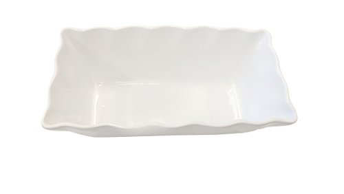 Cook Pro White Ruffled Stoneware & Bakeware Loaf Pan, 9.5″ x 4.5″ x 3.25″, Sturdy Ceramic That is Lead and Cadmium Free