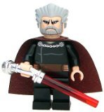 Lego Star Wars Count Dooku Minifigure with Chrome Curved Hilt Lightsaber from Set 7752 9515