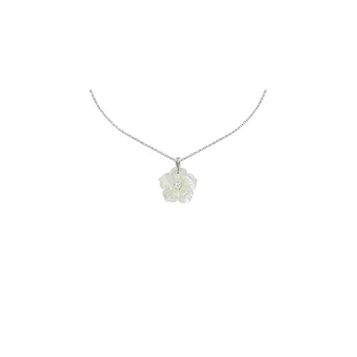 Les Poulettes Jewels - Silver Pendant Necklace Mother of Pearl Flower
