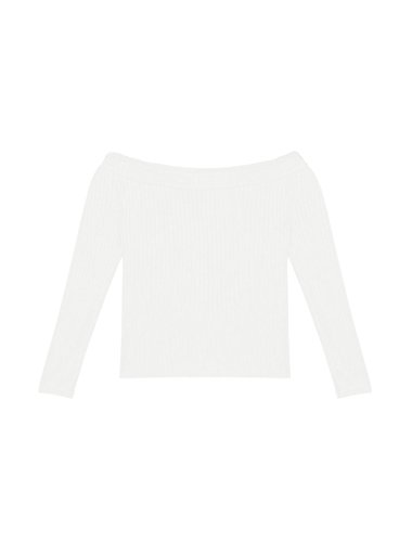 Woman Off Shoulder Long Sleeves Ribbed Slim Fit Cropped Top L White