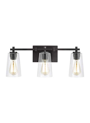 - Feiss VS24303ORB Mercer Glass Wall Vanity Bath Lighting, Bronze, 3-Light (22