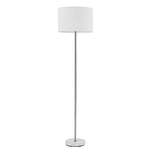 """Globe Electric Versailles 60"""" Floor Lamp, Brushed Nickel, Faux Marble Accent, White Linen Shade, On/Off Socket Rotary Switch 67036"""