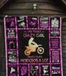I Am Crazy Girl Love Motocross Quilt Throw Size