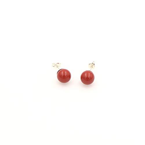 Swarovski Coral Red Crystal Pearl Stud Earring - Sterling Silver Post, 8mm