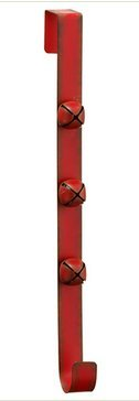 15 Inch Red Wreath Hanger With 3 Christmas Bells in a Vintage Antiqued Finish