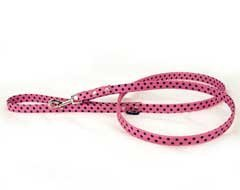 "Pink and Black Polka Dot Lead for Dogs (4 ft. long, 1"" wide)"
