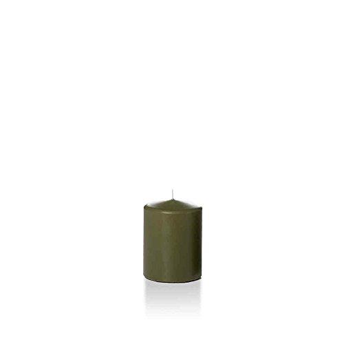 "Yummi 2.25"" x 3"" Olive Slim Round Pillar Candles - 4 per pack"