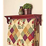The Lakeside Collection Deluxe Quilt Rack with Shelf - Walnut