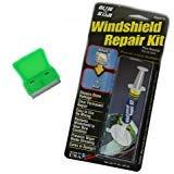 Bundle - 2 Items - 1 Blue-Star Windshield Repair Kit + 1 Mini Scraper (Color: Assorted / Metal OR Plastic Blade)