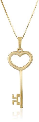 14k Yellow Gold Key Pendant Necklace, 18
