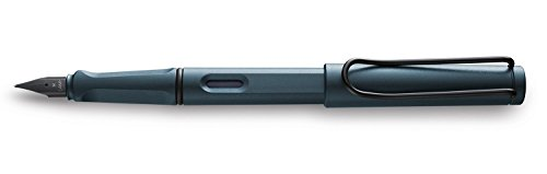 Lamy Safari Fountain Pen, Medium Nib + 5 Black Ink Cartridges (Petrol Blue Limited Edition)
