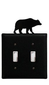 ESS-14 Bear Double Switch Electric Wall Plate with Silhouette
