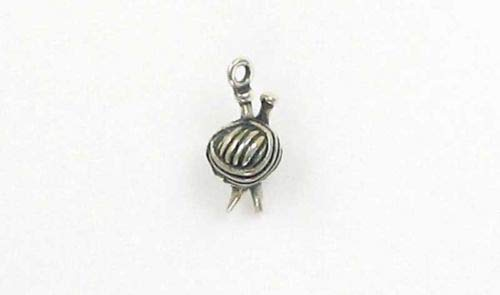 Sterling Silver 3-D Knitting Needles Yarn Charm - Jewelry Accessories Key Chain Bracelet Necklace Pendants