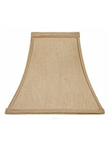Upgradelights Beige Linen 8 Inch Square Bell Clip On Lampshade 4x8x7