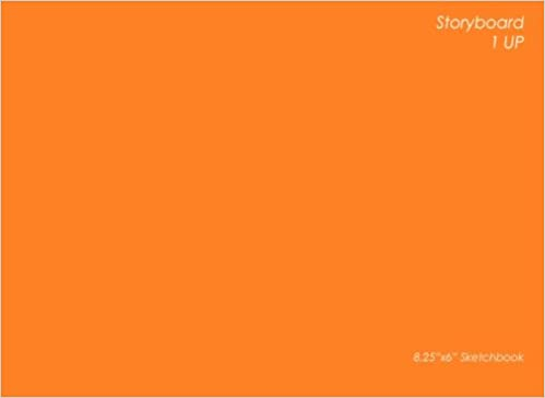 Storyboard: 1 UP: 8.25x6 Inch Orange Design Storyboard Sketchbook - 1 UP