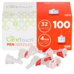 Plus Injection (Care Touch Insulin Pen Needles 32 Gauge, 5/32 Inches, 4mm - 100 Pen Needles)