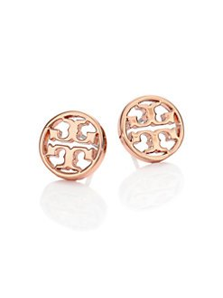 Fashion Rose Gold Round T Studs Earrings