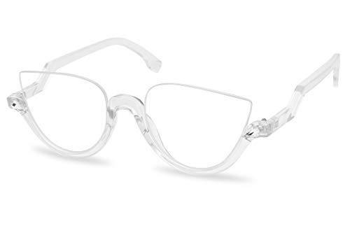 Vintage Half Frame Rhinestone Studded MOD CatEye Clear Lens Glasses (Transparent, Clear)
