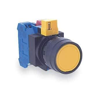 Idec HW1B-M1F10-G Non-Illuminated Push-Button Switch, Round, - Push Green Button Illuminated