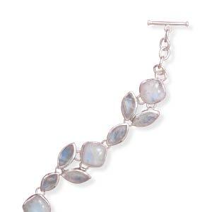Argent sterling 20,3cm + 2,5cm Extension Bracelet pierre de lune arc-en-ciel