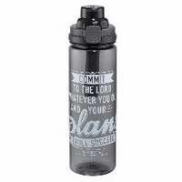 """""""Your Plans Will Succeed"""" Black Plastic Water Bottle – Proverbs 16:3"""