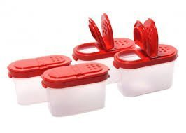 (Tupperware Small Spice Shaker (4)pc Set Sheer with Red Seals)