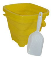 Packable Pails. Collapsible Bucket with Shovel- Perfect for Travel in Sunhine Yellow (By AquaVault)