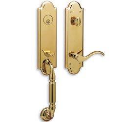 Baldwin - Estate Collection Manchester Single Cylinder Lifetime Polished Brass Left-Handed Handleset with Wave Lever -