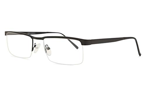 Discount Rimless Eyeglasses - SmartBuy Collection Anthony Unisex Prescription Eyeglass Frames - Semi Rimless Rectangular Designer Glasses Frame - Anthony Black