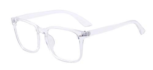 Outray Gafas de bloqueo de luz azul Gafas de montura cuadradas Nerd Gafas Anti Blue Ray Gafas de juego de computadora Blanco