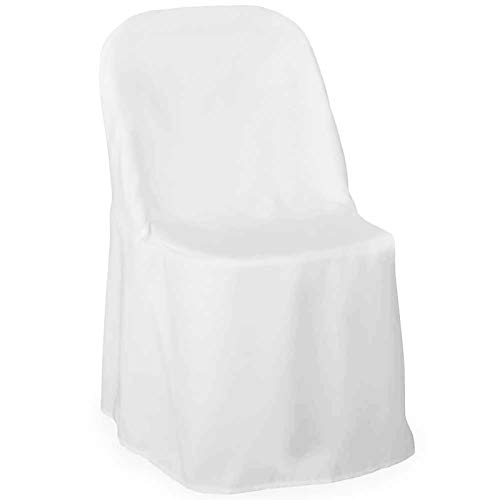 Lann's Linens - 10 Elegant Wedding/Party Folding Chair Covers - Polyester Cloth - White (Folding Chairs Lot Job)