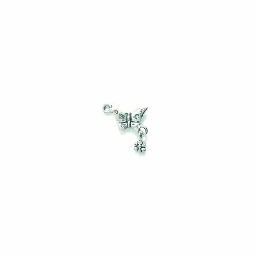 - Shipwreck Beads Pewter Butterfly Charm with Flower, Silver, 18 by 18mm, 4-Piece