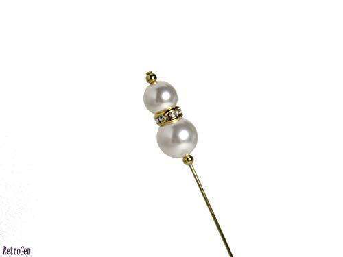 RetroGem Classic Elegance White Pearl Gold Tone Hat Pin Made with Swarovski Elements Pearl (White)