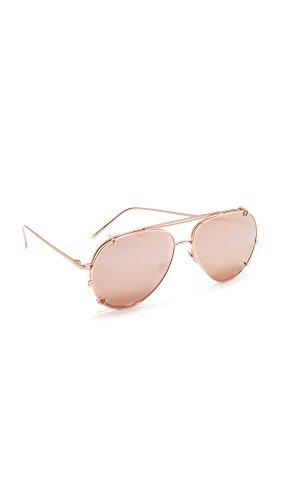 Linda Farrow Luxe Women's Aviator Clip On Sunglasses, Rose Gold/Rose Gold, One - Rose Linda